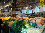 Granville Island Public Market. I bought a bunch of spinach, a head of butter lettuce, 4 cloves of garlic, a bunch of cilantro, 3 ears of corn, 3 potatoes, a bundle of scallions, 2 oranges, 2 fuji apples and 1 ripe avocado for $12.11.
