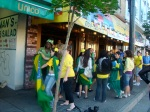 6:15 am for the Brazil-Portugal game. There was dancing and singing. There were instruments. A news crew. By the time the game started, at 7, the crowd was 20x as big and we were packed in there like sardines. It was incredible.