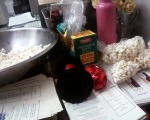 Partway through making the lavender popcorn (!!) press kits. :)
